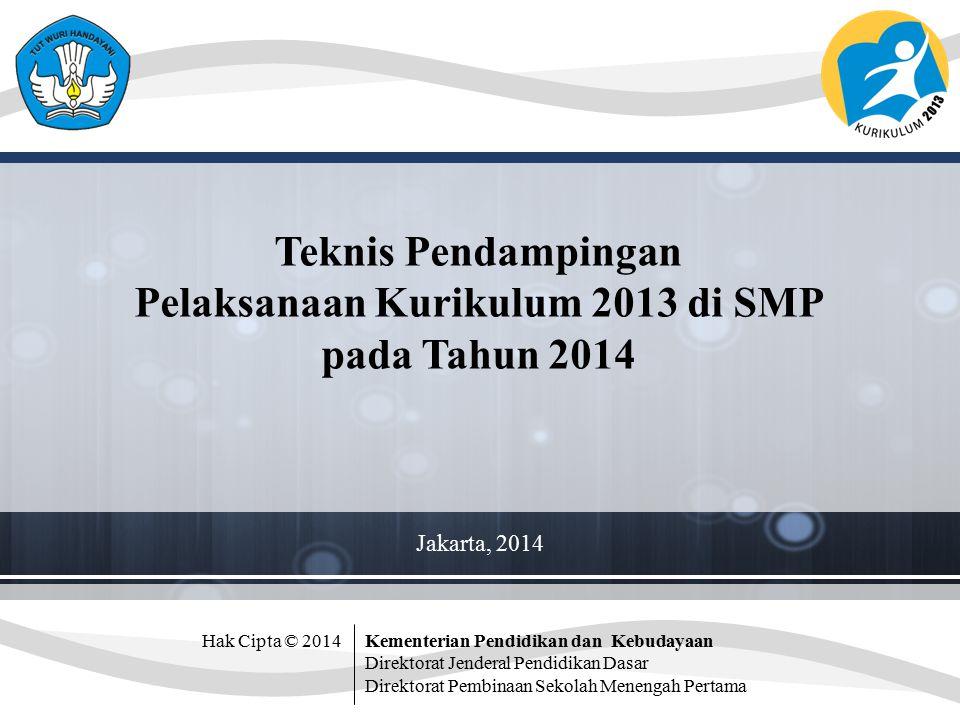 Hak Cipta © 2014Kementerian Pendidikan dan Kebudayaan Direktorat Jenderal Pendidikan Dasar Direktorat Pembinaan Sekolah Menengah Pertama Teknis Pendampingan Pelaksanaan Kurikulum 2013 di SMP pada Tahun 2014 Jakarta, 2014