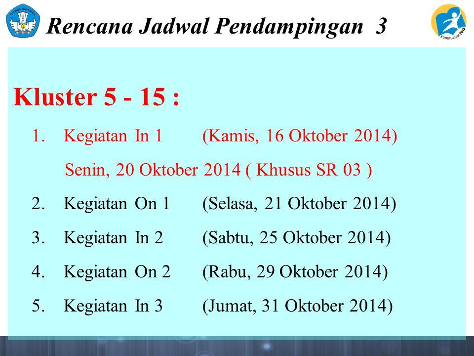 Rencana Jadwal Pendampingan 3 Kluster 5 - 15 : 1. Kegiatan In 1(Kamis, 16 Oktober 2014) Senin, 20 Oktober 2014 ( Khusus SR 03 ) 2. Kegiatan On 1(Selas