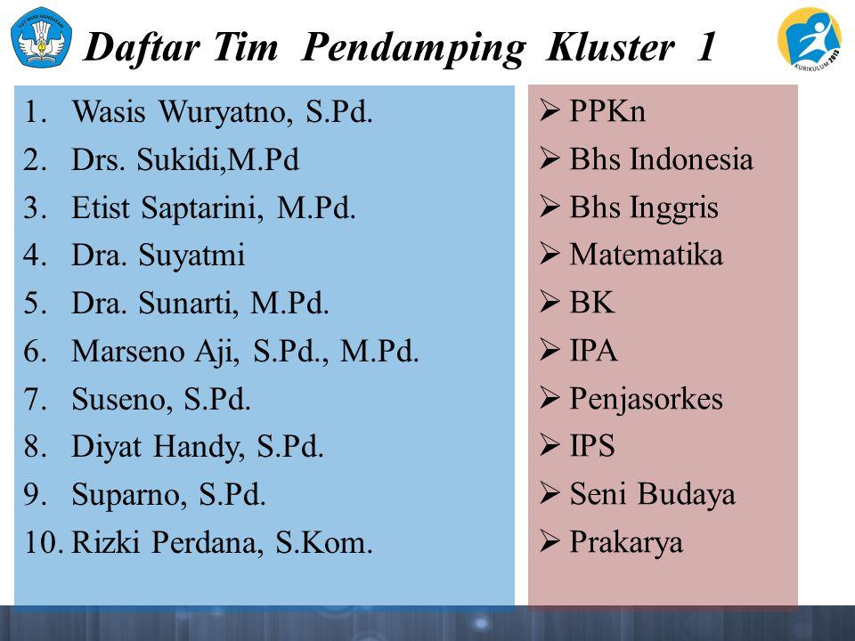 Daftar Tim Pendamping Kluster 1 1. Wasis Wuryatno, S.Pd. 2. Drs. Sukidi,M.Pd 3. Etist Saptarini, M.Pd. 4. Dra. Suyatmi 5. Dra. Sunarti, M.Pd. 6. Marse