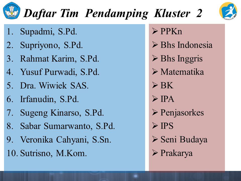 Daftar Tim Pendamping Kluster 2 1. Supadmi, S.Pd.