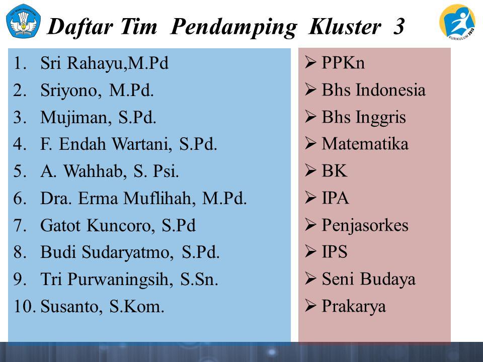 Daftar Tim Pendamping Kluster 3 1. Sri Rahayu,M.Pd 2.