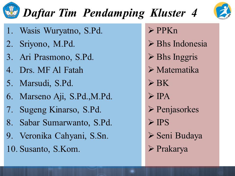 Daftar Tim Pendamping Kluster 4 1. Wasis Wuryatno, S.Pd. 2. Sriyono, M.Pd. 3. Ari Prasmono, S.Pd. 4. Drs. MF Al Fatah 5. Marsudi, S.Pd. 6. Marseno Aji
