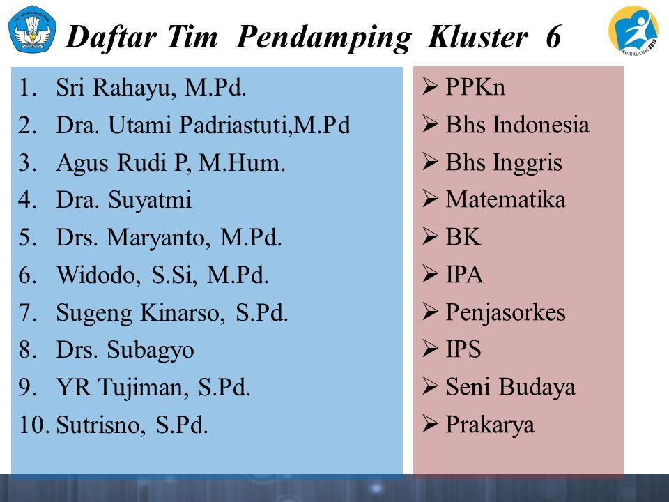 Daftar Tim Pendamping Kluster 6 1. Sri Rahayu, M.Pd. 2. Dra. Utami Padriastuti,M.Pd 3. Agus Rudi P, M.Hum. 4. Dra. Suyatmi 5. Drs. Maryanto, M.Pd. 6.