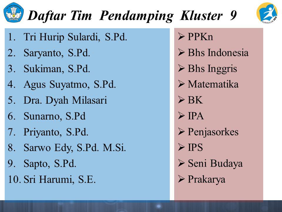 Daftar Tim Pendamping Kluster 9 1. Tri Hurip Sulardi, S.Pd.