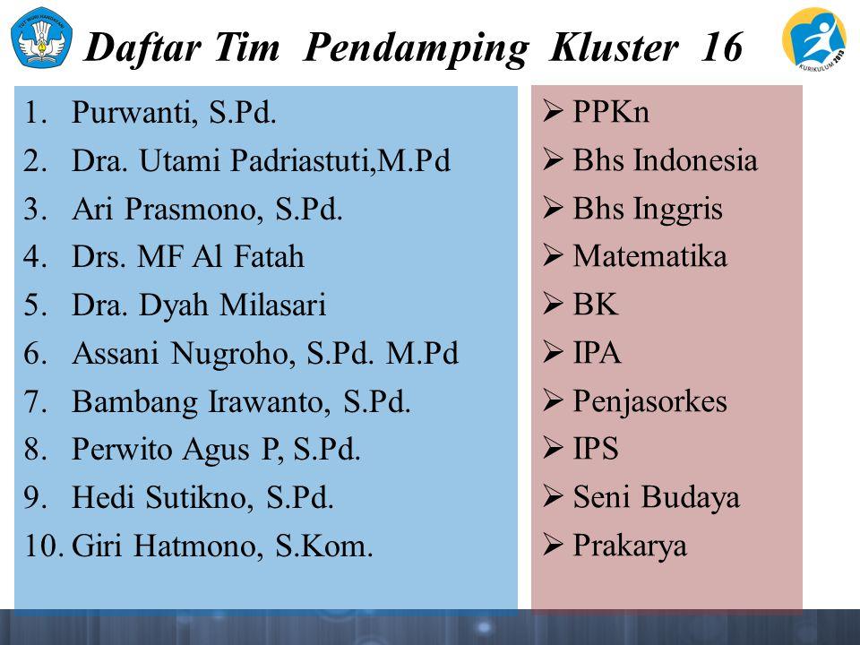 Daftar Tim Pendamping Kluster 16 1. Purwanti, S.Pd.