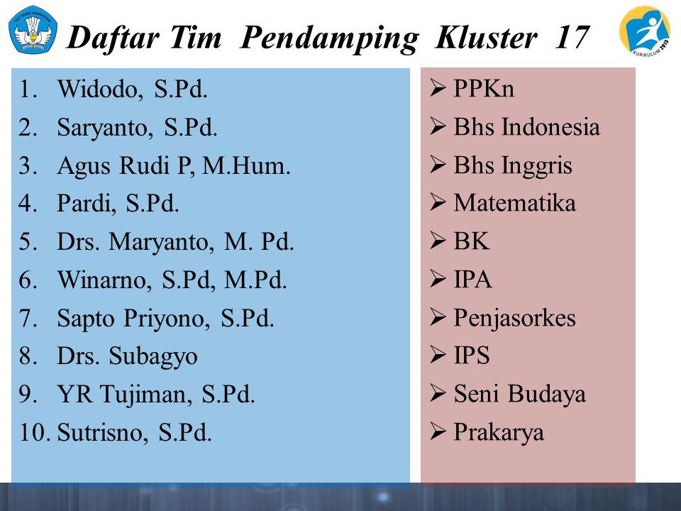 Daftar Tim Pendamping Kluster 17 1. Widodo, S.Pd. 2. Saryanto, S.Pd. 3. Agus Rudi P, M.Hum. 4. Pardi, S.Pd. 5. Drs. Maryanto, M. Pd. 6. Winarno, S.Pd,