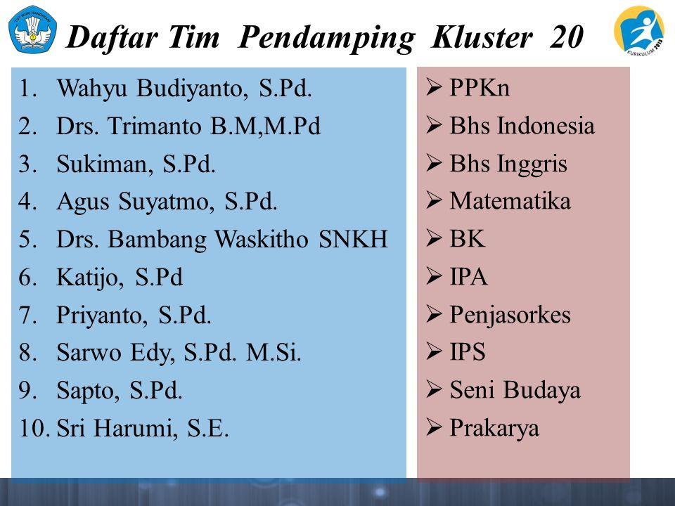 Daftar Tim Pendamping Kluster 20 1. Wahyu Budiyanto, S.Pd.