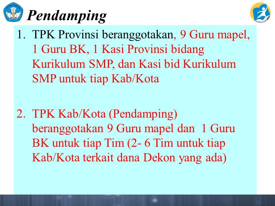 Pendamping 1. TPK Provinsi beranggotakan, 9 Guru mapel, 1 Guru BK, 1 Kasi Provinsi bidang Kurikulum SMP, dan Kasi bid Kurikulum SMP untuk tiap Kab/Kot