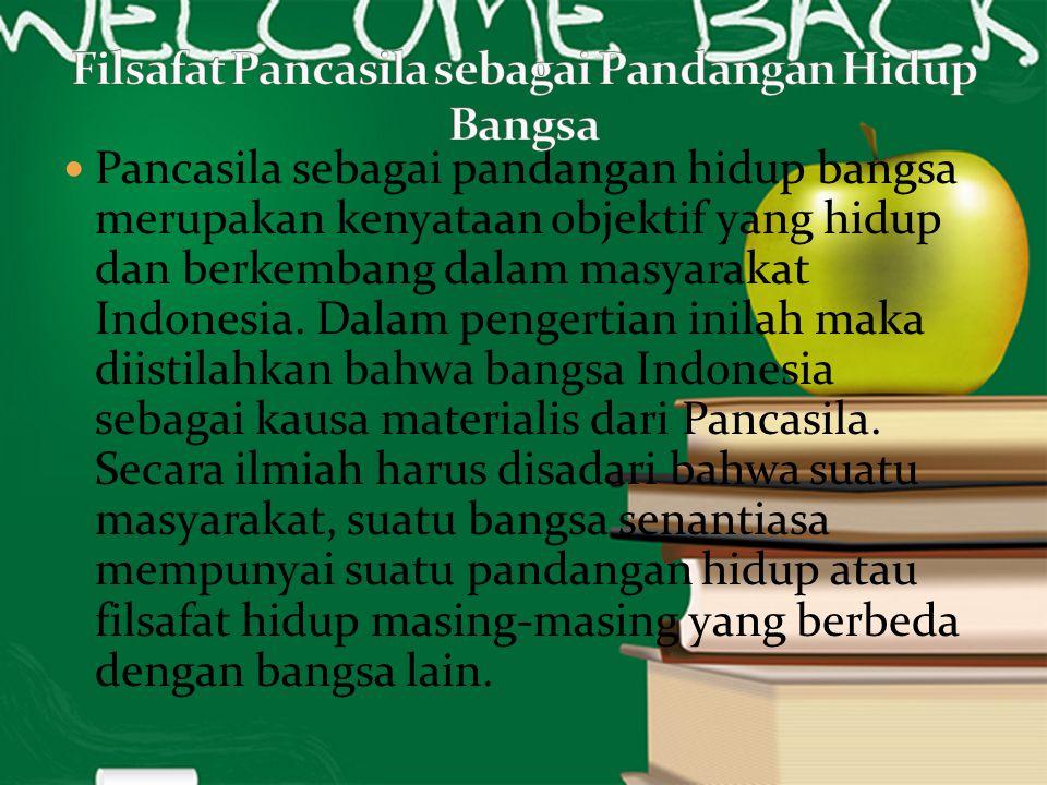Pancasila sebagai pandangan hidup bangsa merupakan kenyataan objektif yang hidup dan berkembang dalam masyarakat Indonesia. Dalam pengertian inilah ma