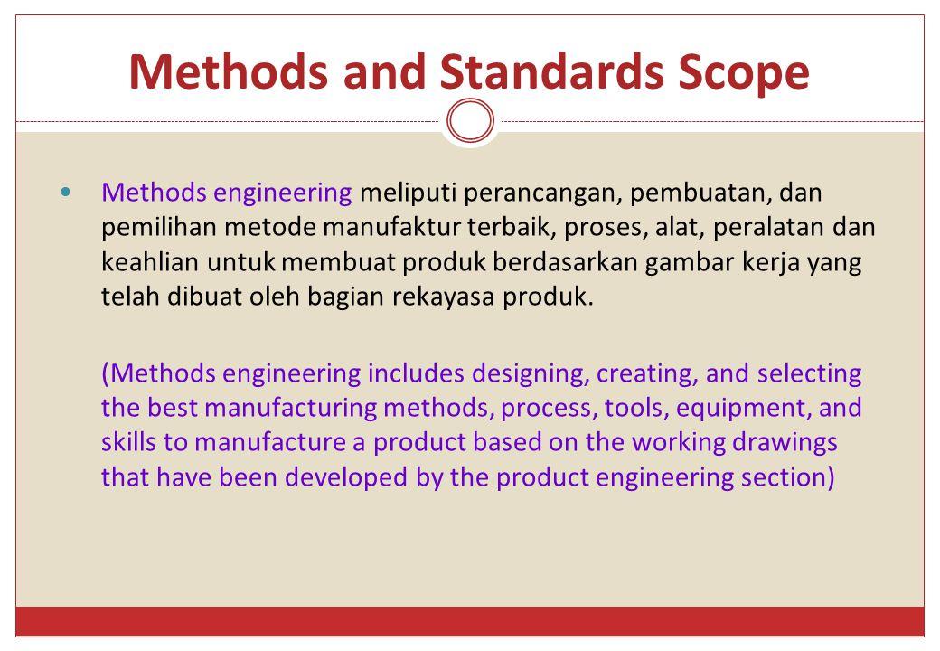 Methods and Standards Scope Methods engineering meliputi perancangan, pembuatan, dan pemilihan metode manufaktur terbaik, proses, alat, peralatan dan