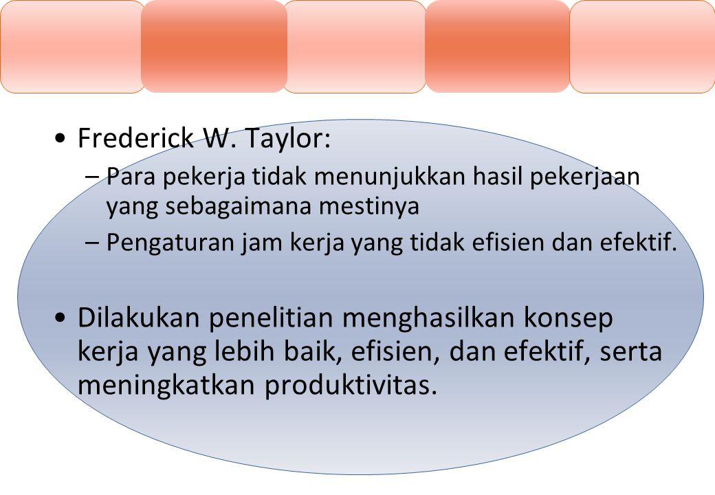 Frederick W. Taylor: –Para pekerja tidak menunjukkan hasil pekerjaan yang sebagaimana mestinya –Pengaturan jam kerja yang tidak efisien dan efektif. D