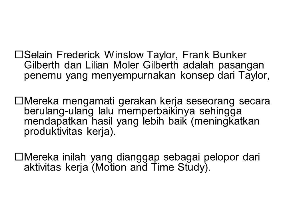  Selain Frederick Winslow Taylor, Frank Bunker Gilberth dan Lilian Moler Gilberth adalah pasangan penemu yang menyempurnakan konsep dari Taylor,  Me