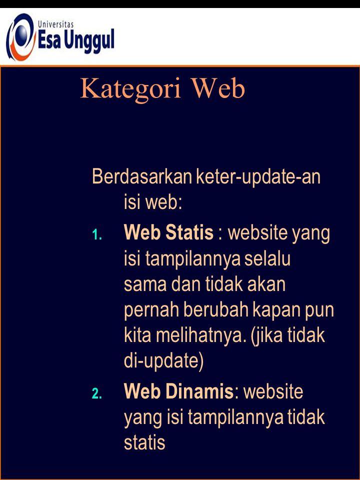 Kategori Web Berdasarkan keter-update-an isi web: 1.