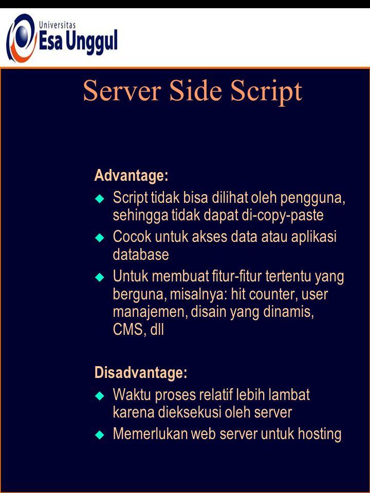 Server Side Script Advantage:  Script tidak bisa dilihat oleh pengguna, sehingga tidak dapat di-copy-paste  Cocok untuk akses data atau aplikasi database  Untuk membuat fitur-fitur tertentu yang berguna, misalnya: hit counter, user manajemen, disain yang dinamis, CMS, dll Disadvantage:  Waktu proses relatif lebih lambat karena dieksekusi oleh server  Memerlukan web server untuk hosting
