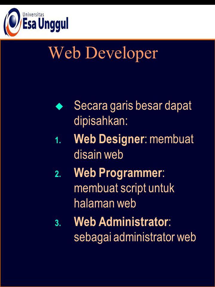 Web Developer  Secara garis besar dapat dipisahkan: 1.