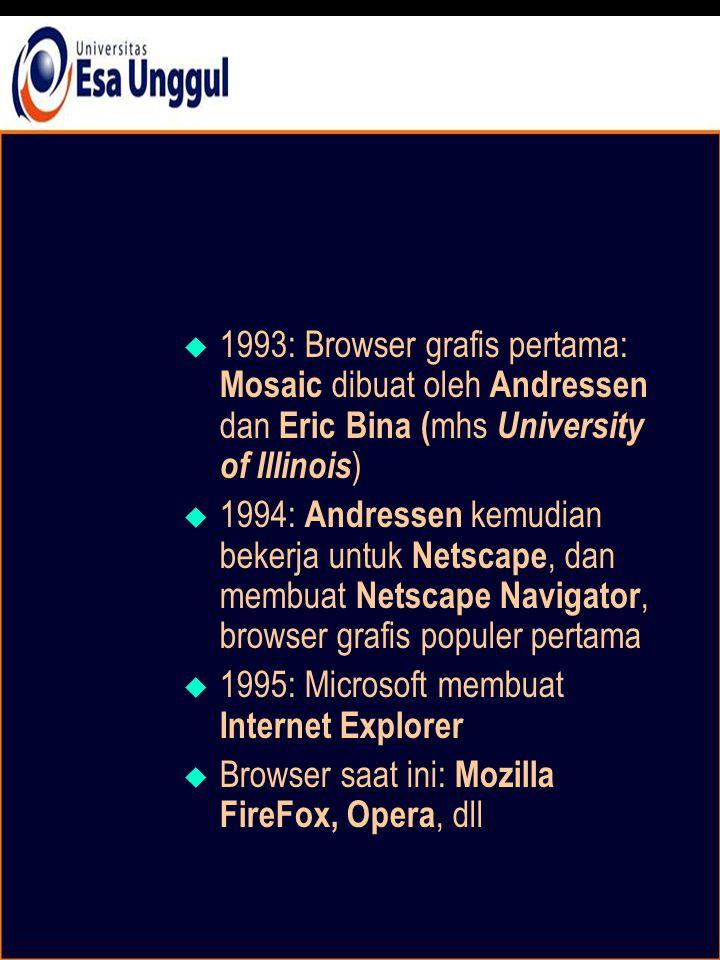  1993: Browser grafis pertama: Mosaic dibuat oleh Andressen dan Eric Bina ( mhs University of Illinois )  1994: Andressen kemudian bekerja untuk Netscape, dan membuat Netscape Navigator, browser grafis populer pertama  1995: Microsoft membuat Internet Explorer  Browser saat ini: Mozilla FireFox, Opera, dll