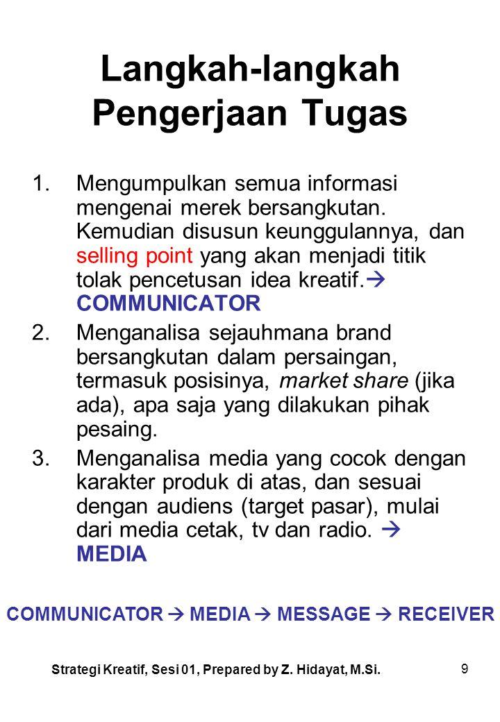 9 Langkah-langkah Pengerjaan Tugas 1.Mengumpulkan semua informasi mengenai merek bersangkutan.