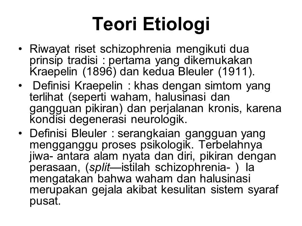 Teori Etiologi Riwayat riset schizophrenia mengikuti dua prinsip tradisi : pertama yang dikemukakan Kraepelin (1896) dan kedua Bleuler (1911). Definis