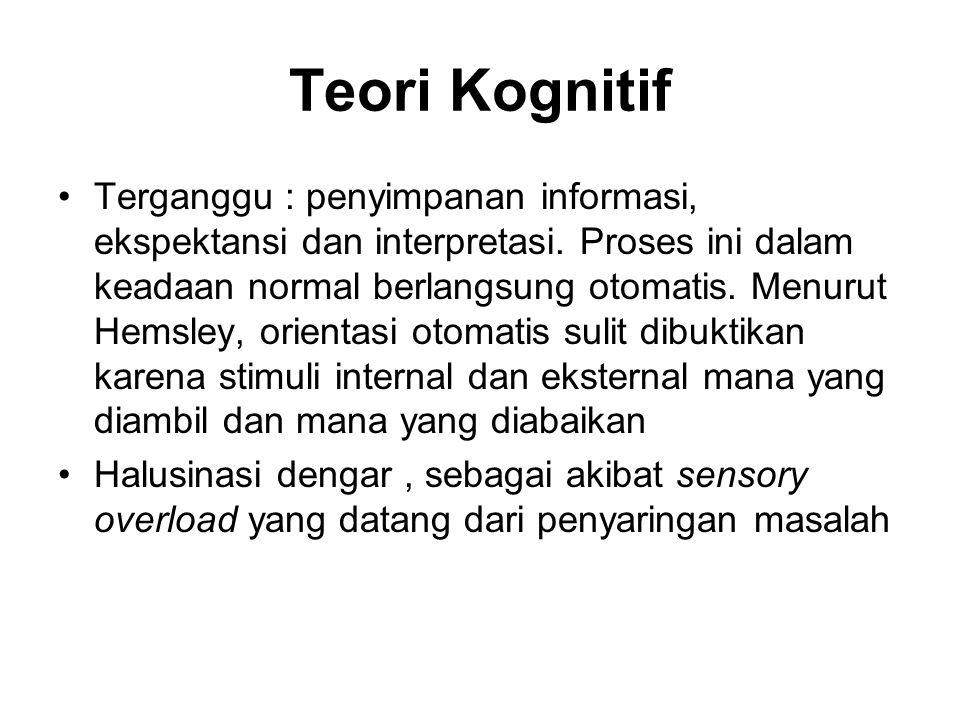 Teori Kognitif Terganggu : penyimpanan informasi, ekspektansi dan interpretasi. Proses ini dalam keadaan normal berlangsung otomatis. Menurut Hemsley,