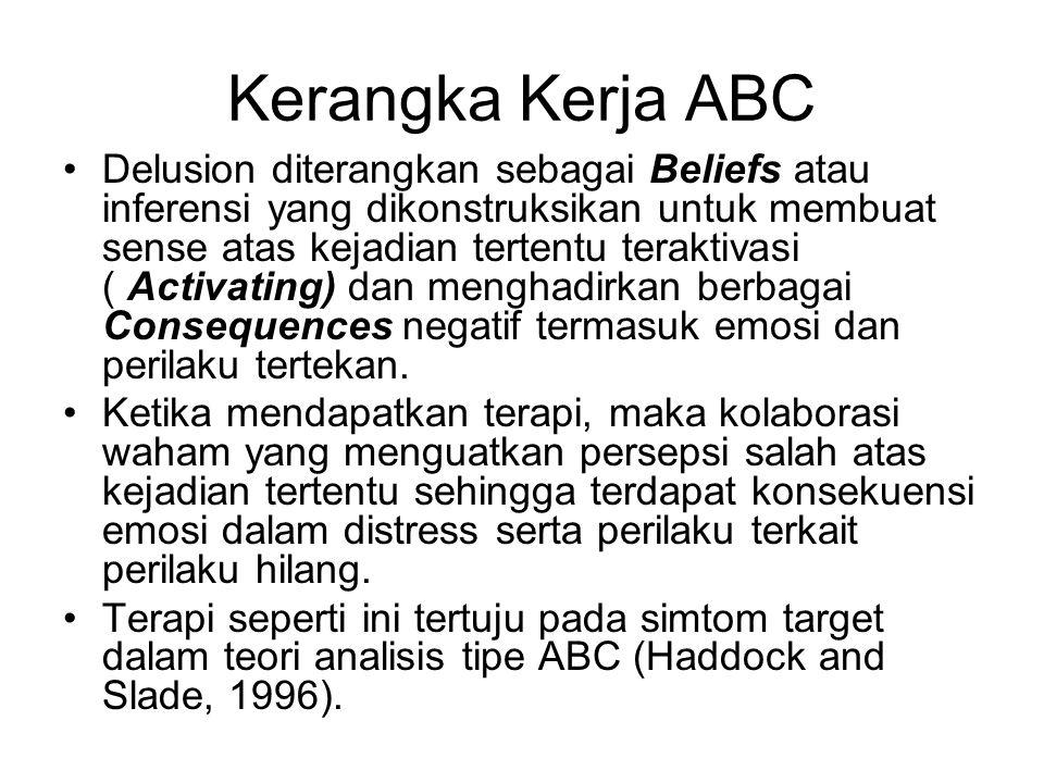 Kerangka Kerja ABC Delusion diterangkan sebagai Beliefs atau inferensi yang dikonstruksikan untuk membuat sense atas kejadian tertentu teraktivasi ( A