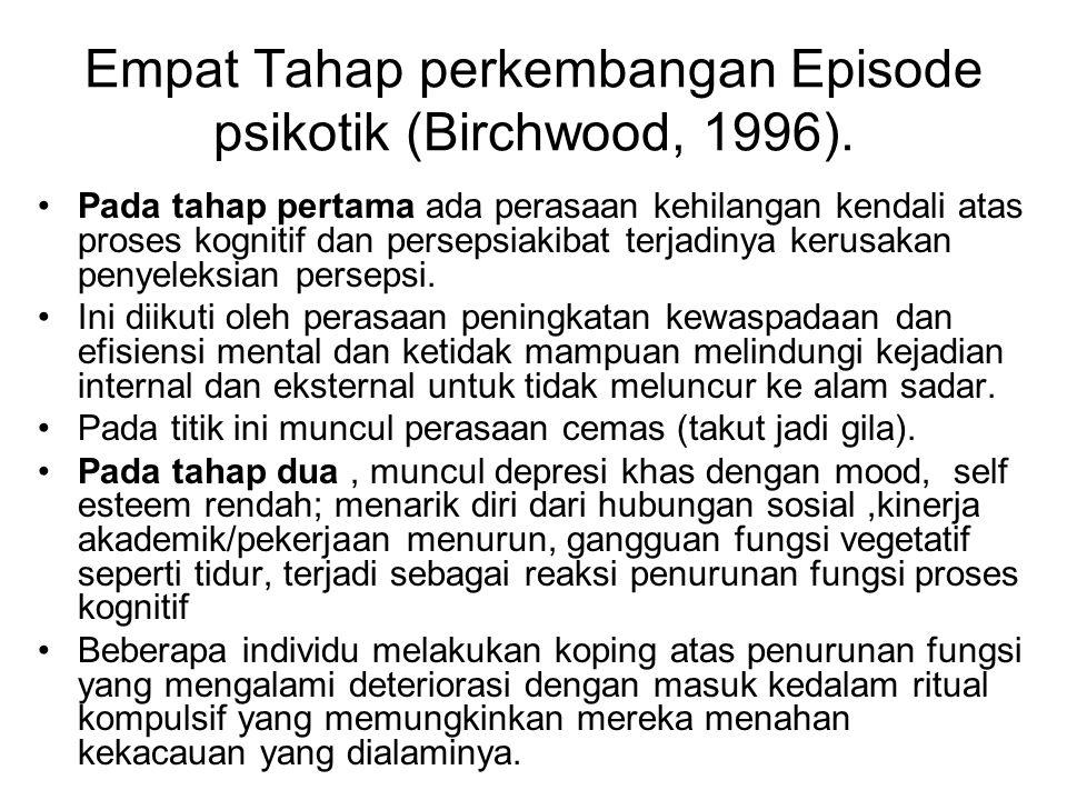 Empat Tahap perkembangan Episode psikotik (Birchwood, 1996). Pada tahap pertama ada perasaan kehilangan kendali atas proses kognitif dan persepsiakiba