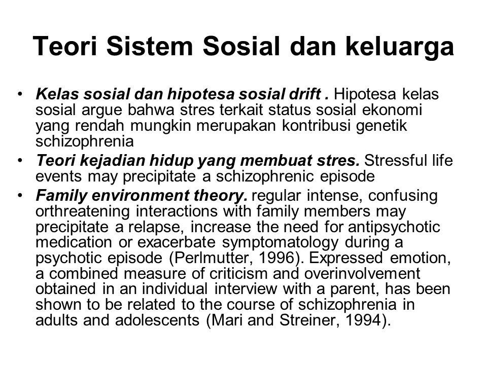 Teori Sistem Sosial dan keluarga Kelas sosial dan hipotesa sosial drift. Hipotesa kelas sosial argue bahwa stres terkait status sosial ekonomi yang re