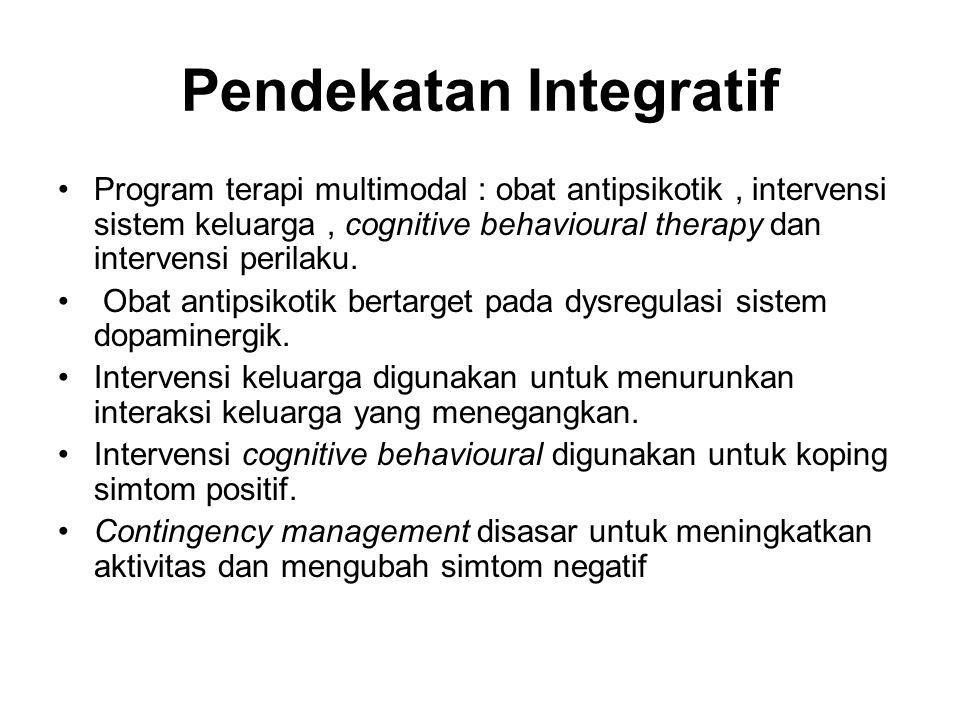 Pendekatan Integratif Program terapi multimodal : obat antipsikotik, intervensi sistem keluarga, cognitive behavioural therapy dan intervensi perilaku