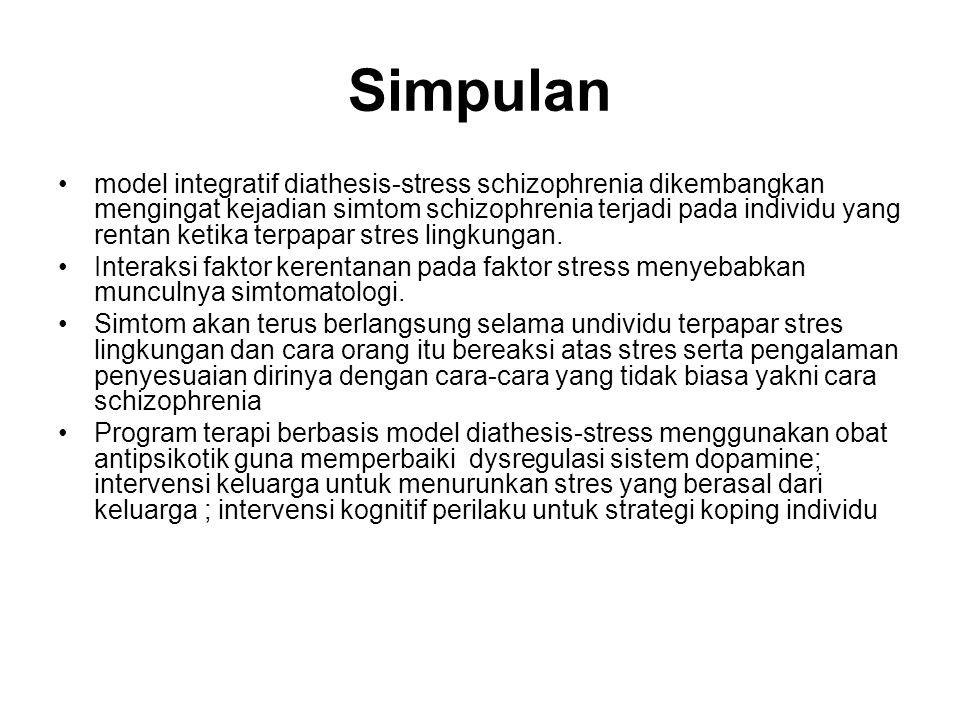 Simpulan model integratif diathesis-stress schizophrenia dikembangkan mengingat kejadian simtom schizophrenia terjadi pada individu yang rentan ketika