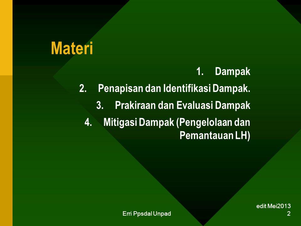 Materi 1.Dampak 2.Penapisan dan Identifikasi Dampak. 3.Prakiraan dan Evaluasi Dampak 4.Mitigasi Dampak (Pengelolaan dan Pemantauan LH) edit Mei2013 Er