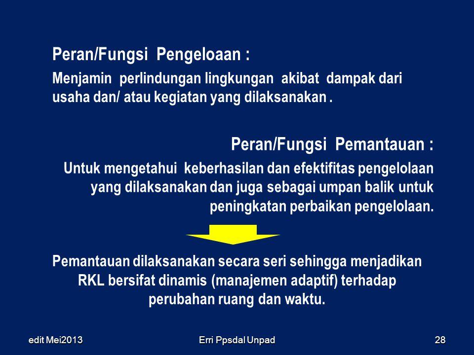 edit Mei2013Erri Ppsdal Unpad28 Peran/Fungsi Pengeloaan : Menjamin perlindungan lingkungan akibat dampak dari usaha dan/ atau kegiatan yang dilaksanak