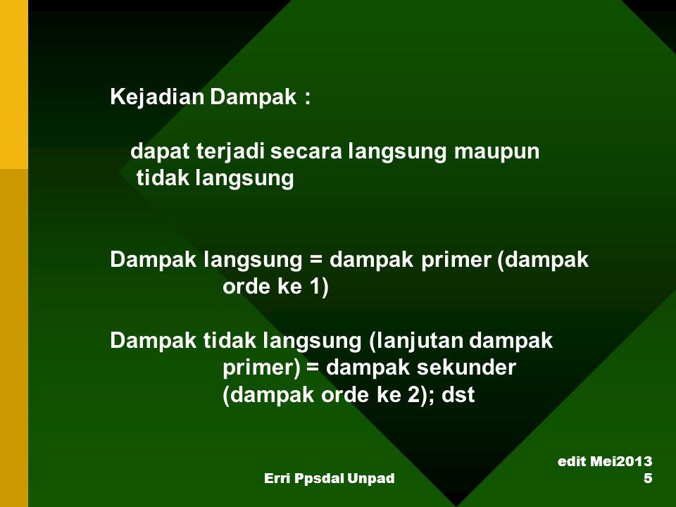 edit Mei2013 Erri Ppsdal Unpad 5 Kejadian Dampak : dapat terjadi secara langsung maupun tidak langsung Dampak langsung = dampak primer (dampak orde ke