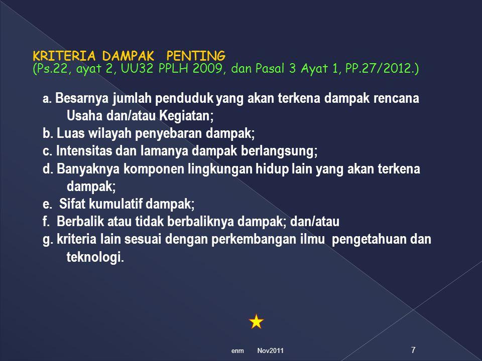 KRITERIA DAMPAK PENTING (Ps.22, ayat 2, UU32 PPLH 2009, dan Pasal 3 Ayat 1, PP.27/2012.) a. Besarnya jumlah penduduk yang akan terkena dampak rencana