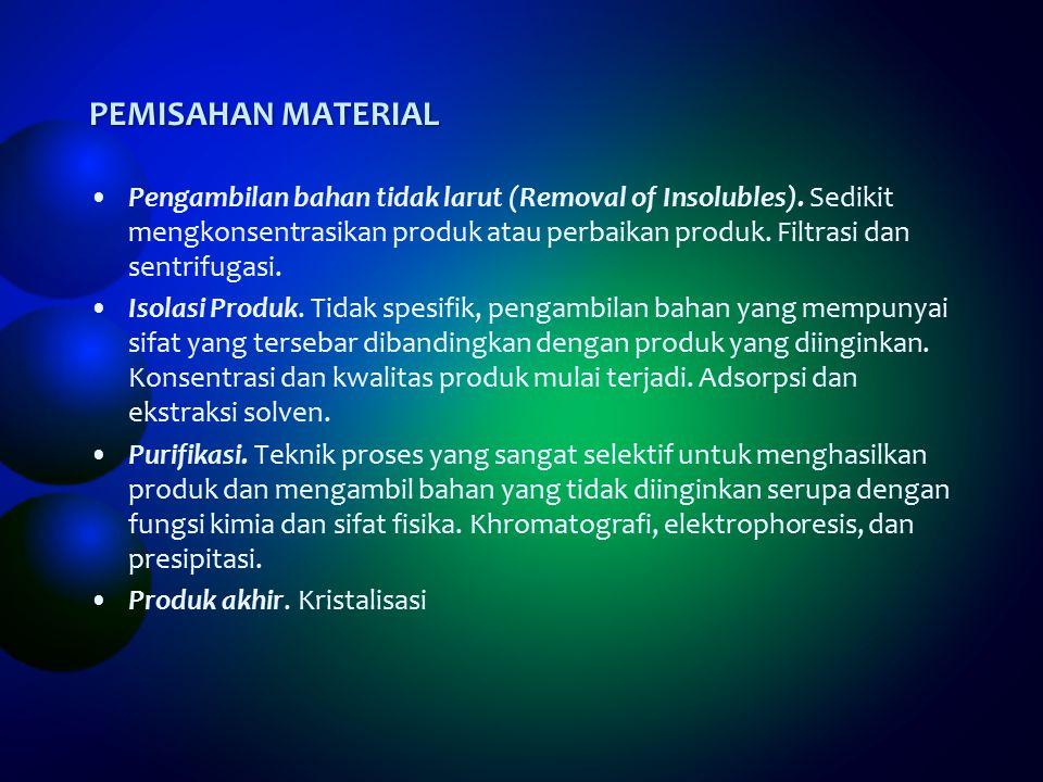 PEMISAHAN MATERIAL Pengambilan bahan tidak larut (Removal of Insolubles).