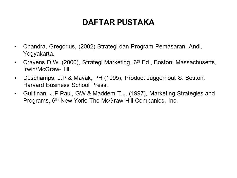 DAFTAR PUSTAKA Chandra, Gregorius, (2002) Strategi dan Program Pemasaran, Andi, Yogyakarta.