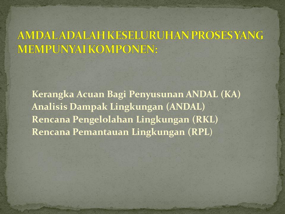 Kerangka Acuan Bagi Penyusunan ANDAL (KA) Analisis Dampak Lingkungan (ANDAL) Rencana Pengelolahan Lingkungan (RKL) Rencana Pemantauan Lingkungan (RPL)