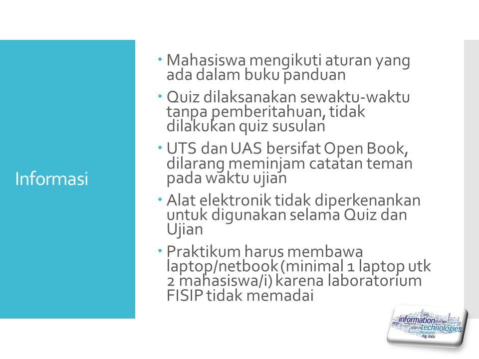 Informasi  Mahasiswa mengikuti aturan yang ada dalam buku panduan  Quiz dilaksanakan sewaktu-waktu tanpa pemberitahuan, tidak dilakukan quiz susulan