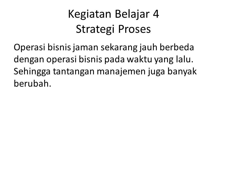 Kegiatan Belajar 4 Strategi Proses Operasi bisnis jaman sekarang jauh berbeda dengan operasi bisnis pada waktu yang lalu. Sehingga tantangan manajemen