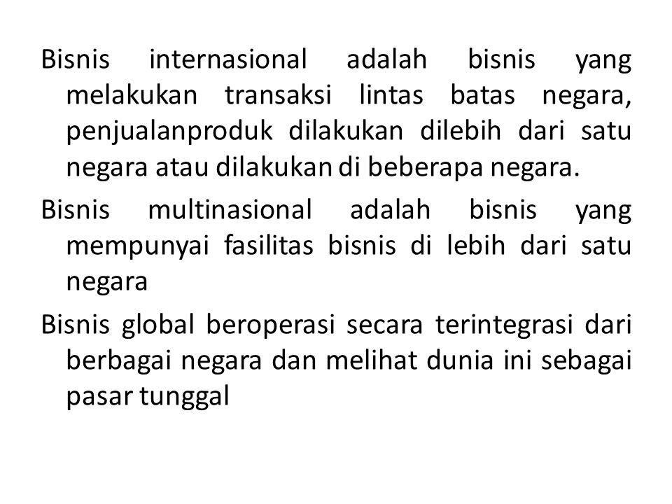 Bisnis internasional adalah bisnis yang melakukan transaksi lintas batas negara, penjualanproduk dilakukan dilebih dari satu negara atau dilakukan di