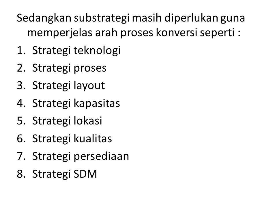 Sedangkan substrategi masih diperlukan guna memperjelas arah proses konversi seperti : 1.Strategi teknologi 2.Strategi proses 3.Strategi layout 4.Stra