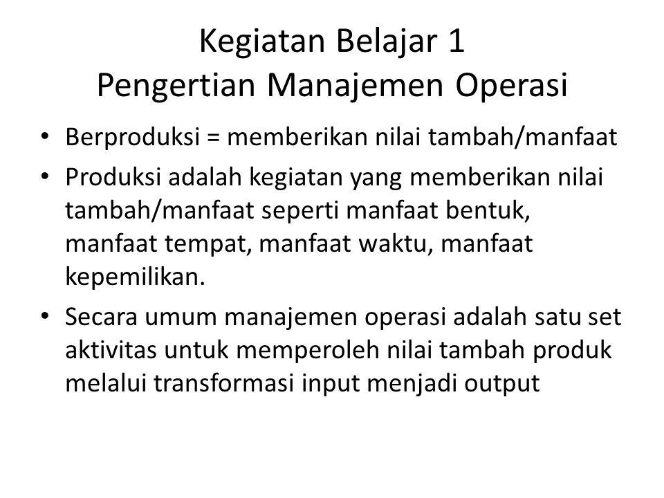 Kegiatan Belajar 1 Pengertian Manajemen Operasi Berproduksi = memberikan nilai tambah/manfaat Produksi adalah kegiatan yang memberikan nilai tambah/ma