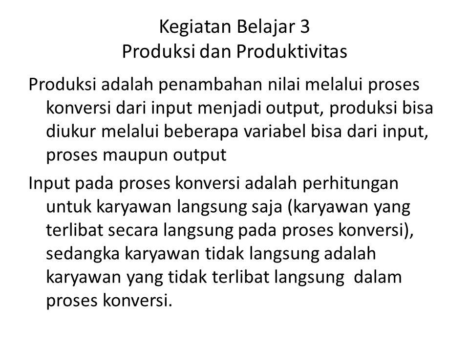 Kegiatan Belajar 3 Produksi dan Produktivitas Produksi adalah penambahan nilai melalui proses konversi dari input menjadi output, produksi bisa diukur