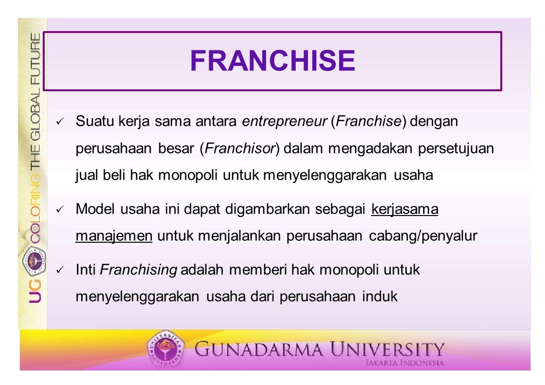 FRANCHISE Suatu kerja sama antara entrepreneur (Franchise) dengan perusahaan besar (Franchisor) dalam mengadakan persetujuan jual beli hak monopoli un