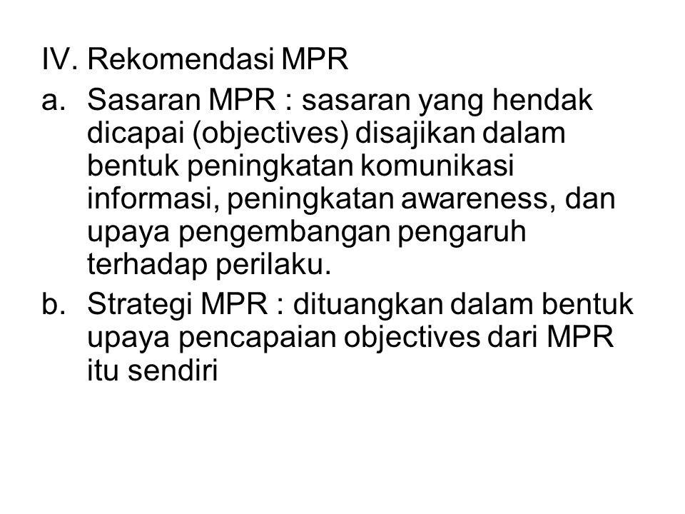 IV. Rekomendasi MPR a.Sasaran MPR : sasaran yang hendak dicapai (objectives) disajikan dalam bentuk peningkatan komunikasi informasi, peningkatan awar