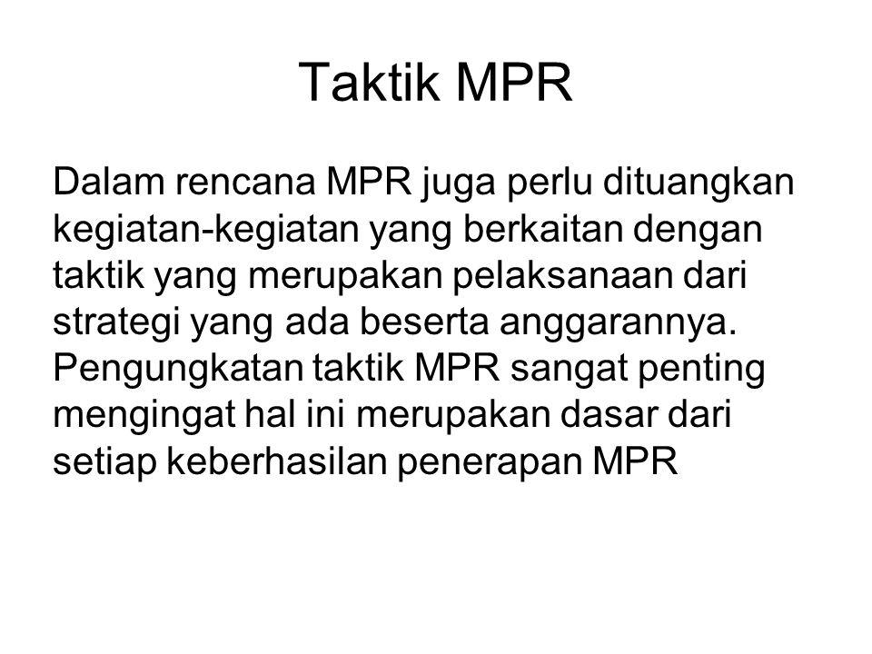 Taktik MPR Dalam rencana MPR juga perlu dituangkan kegiatan-kegiatan yang berkaitan dengan taktik yang merupakan pelaksanaan dari strategi yang ada beserta anggarannya.