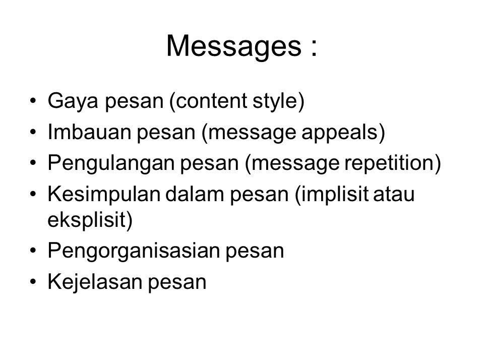 Messages : Gaya pesan (content style) Imbauan pesan (message appeals) Pengulangan pesan (message repetition) Kesimpulan dalam pesan (implisit atau eks