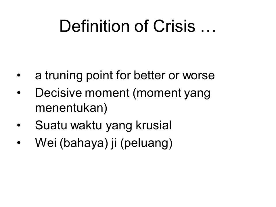 Definition of Crisis … a truning point for better or worse Decisive moment (moment yang menentukan) Suatu waktu yang krusial Wei (bahaya) ji (peluang)
