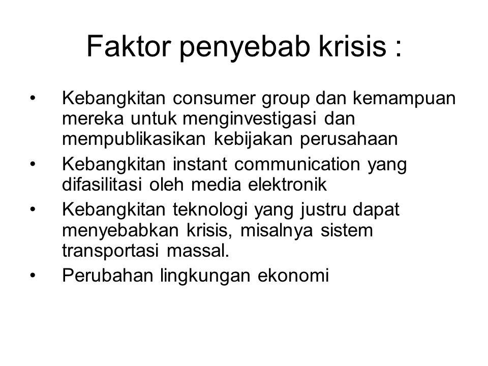 Faktor penyebab krisis : Kebangkitan consumer group dan kemampuan mereka untuk menginvestigasi dan mempublikasikan kebijakan perusahaan Kebangkitan in