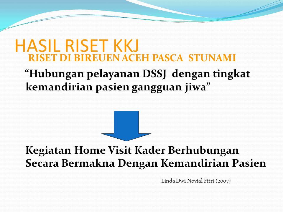 """HASIL RISET KKJ RISET DI BIREUEN ACEH PASCA STUNAMI """"Hubungan pelayanan DSSJ dengan tingkat kemandirian pasien gangguan jiwa"""" Kegiatan Home Visit Kade"""