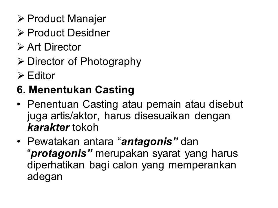  Product Manajer  Product Desidner  Art Director  Director of Photography  Editor 6. Menentukan Casting Penentuan Casting atau pemain atau disebu