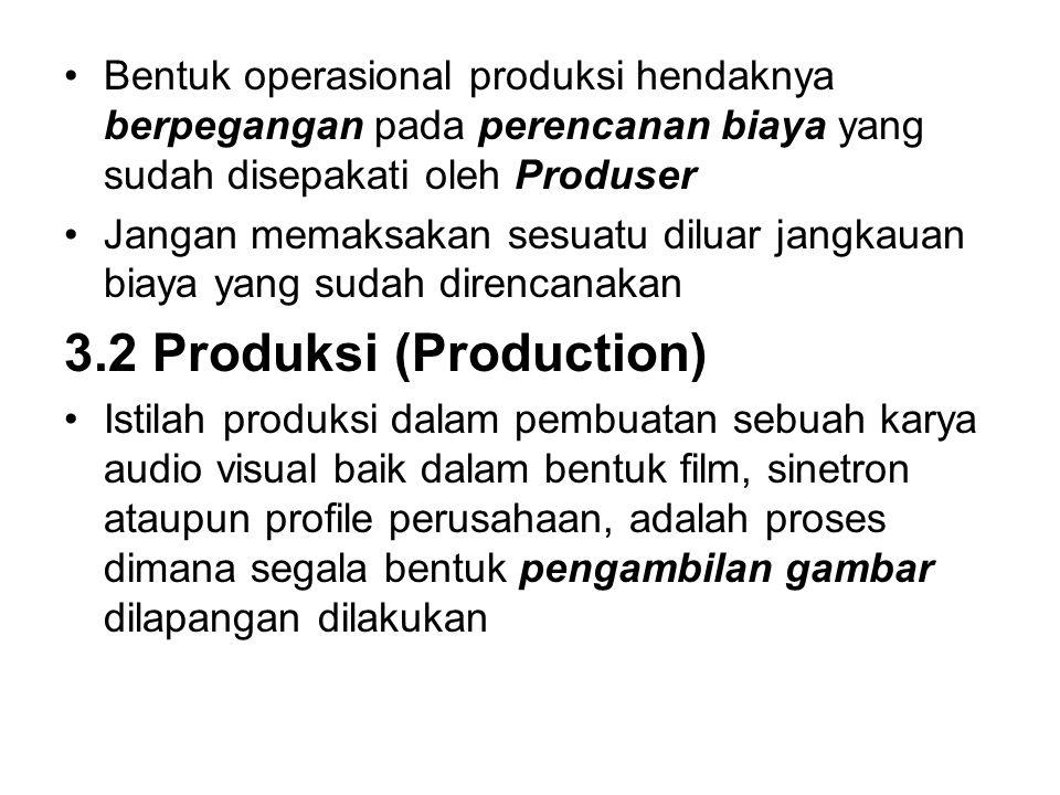 Bentuk operasional produksi hendaknya berpegangan pada perencanan biaya yang sudah disepakati oleh Produser Jangan memaksakan sesuatu diluar jangkauan